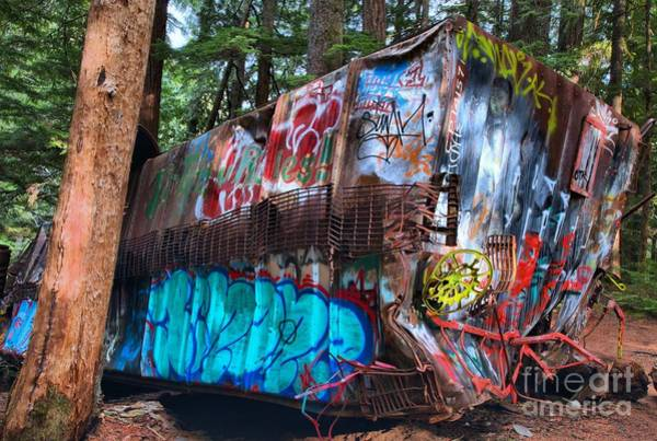 Train Derailment Photograph - Gaffiti In The Candian Forest by Adam Jewell
