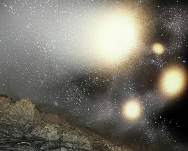 Ursa Major Photograph - Galactic Collision In Night Sky by Nasa/jpl-caltech/harvard-smithsonian Cfa/science Photo Library