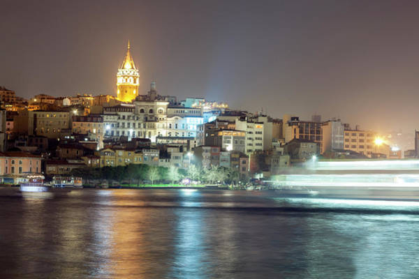Galata Photograph - Galata Tower In Istanbul At Night by Jorge Duarte Estevao