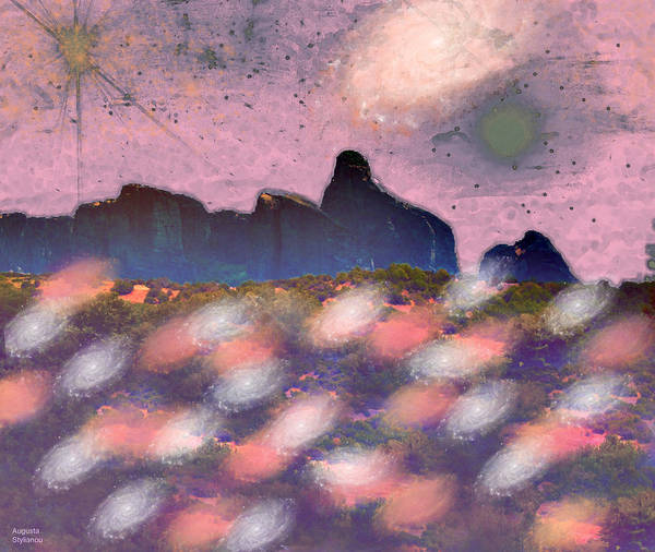 Planets And Moons Digital Art - Galaxies Landscape by Augusta Stylianou