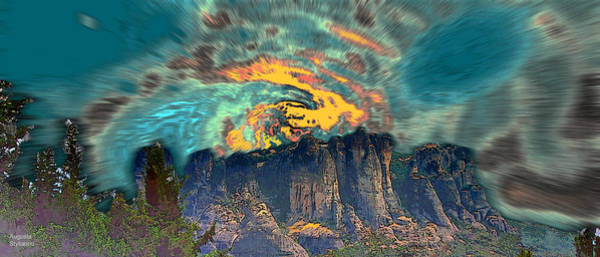 Planets And Moons Digital Art - Galaxies Over Mountains by Augusta Stylianou
