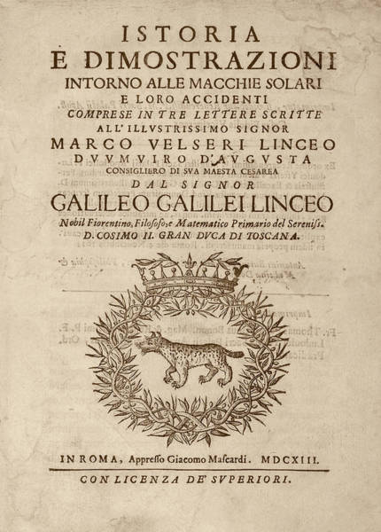 Title Page Wall Art - Photograph - Galileo On Sunspots by Library Of Congress