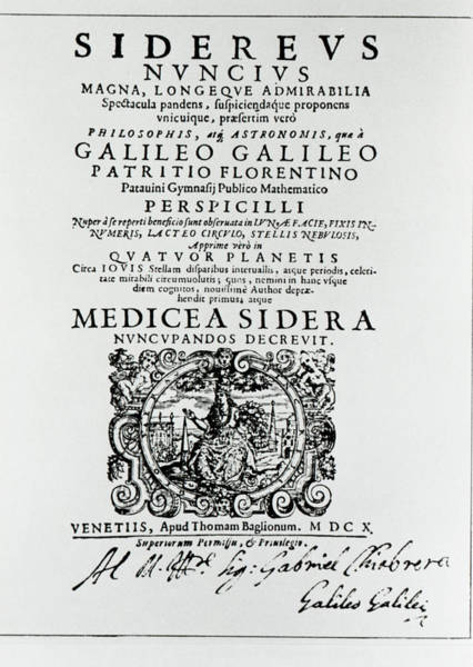 Title Page Wall Art - Photograph - Galileo's Book by Science Photo Library