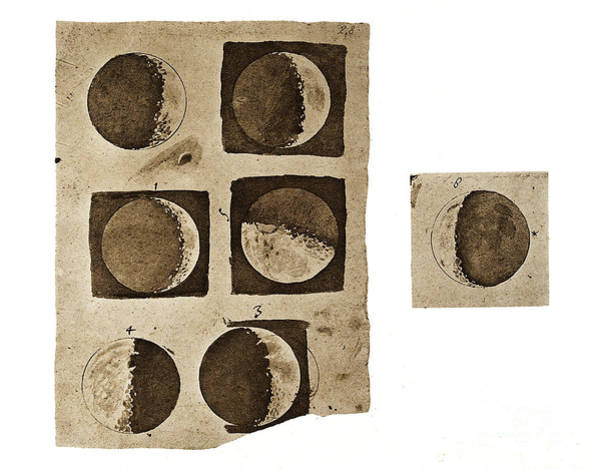 Photograph - Galileos Five Diagrams Of Surface by Wellcome Images