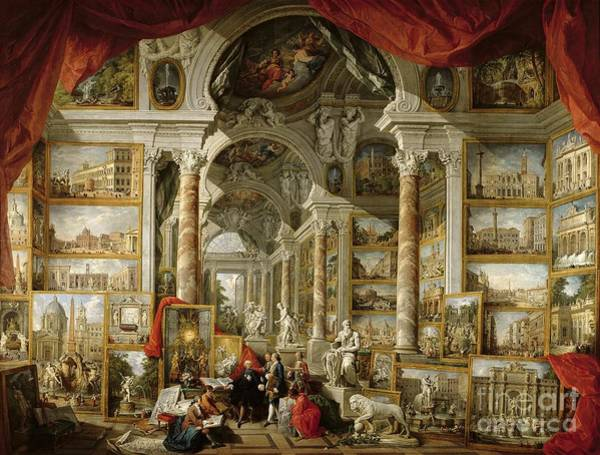 Inside Painting - Gallery With Views Of Modern Rome by Panini