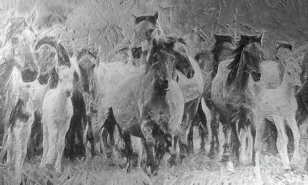 Wall Art - Painting - Galloping Horse Team by Odon Czintos