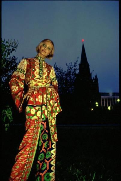 Central Europe Photograph - Galya Milovskaya Wearing A Print Ensemble by Arnaud de Rosnay