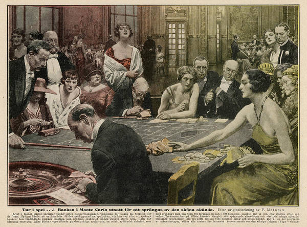 1924 Drawing - Gamblers At The Tables -  A Winner by Mary Evans Picture Library