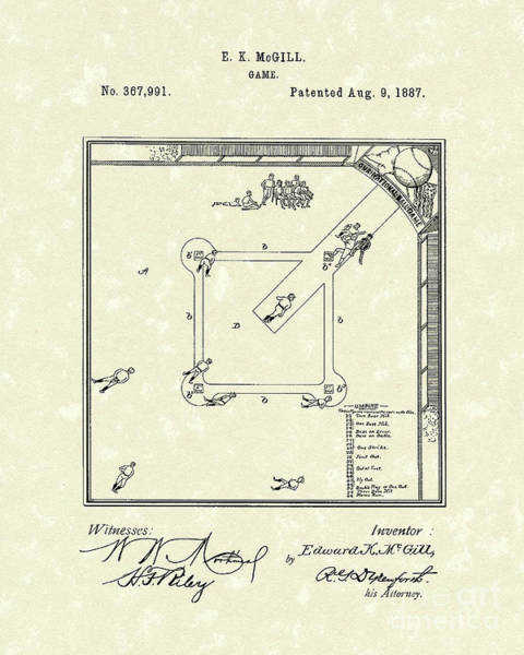 Wall Art - Drawing - Game 1887 Patent Art by Prior Art Design