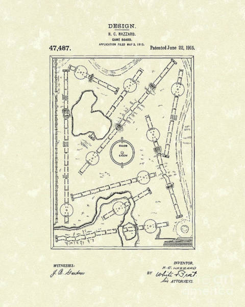 Drawing - Game Board 1915 Patent Art by Prior Art Design