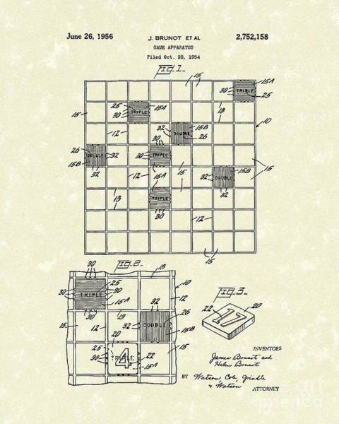 Checker Drawing - Game Board 1956 Patent Art by Prior Art Design