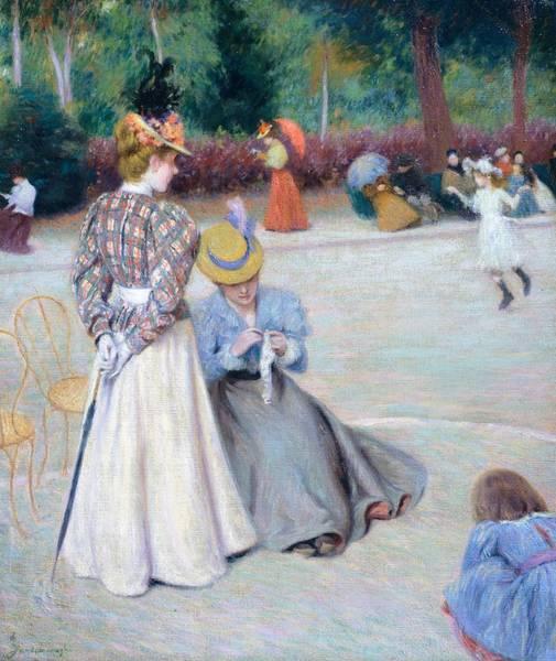 Mending Painting - Games At Park by Federico Zandomeneghi