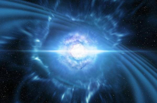 First Star Photograph - Gamma Ray Burst From Colliding Neutron Stars by Eso/l. Cal�ada/m. Kornmesser/science Photo Library