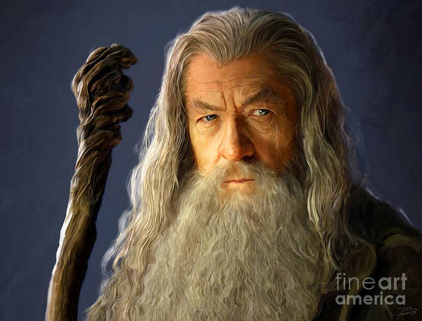 Shower Curtain Painting - Gandalf by Paul Tagliamonte