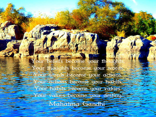 Philosopher Digital Art - Gandhi Wisdom Saying  About Destiny by Quintus Wolf
