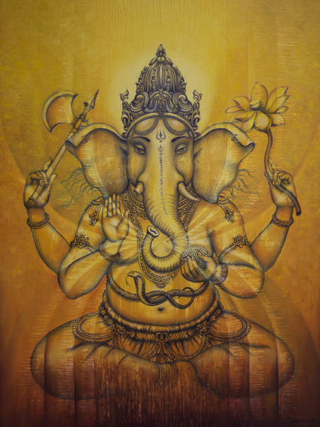 Om Wall Art - Painting - Ganesha Darshan by Vrindavan Das