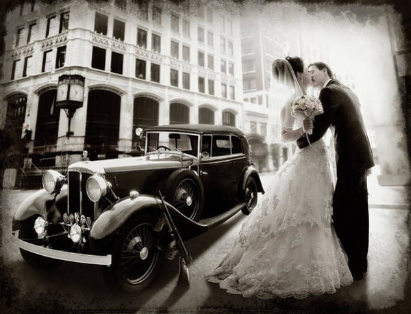 Old Car Wall Art - Photograph - Gangster Wedding by Dmitry Laudin