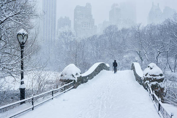 Cold Day Photograph - Gapstow Bridge Central Park Snowstorm by Matejphoto