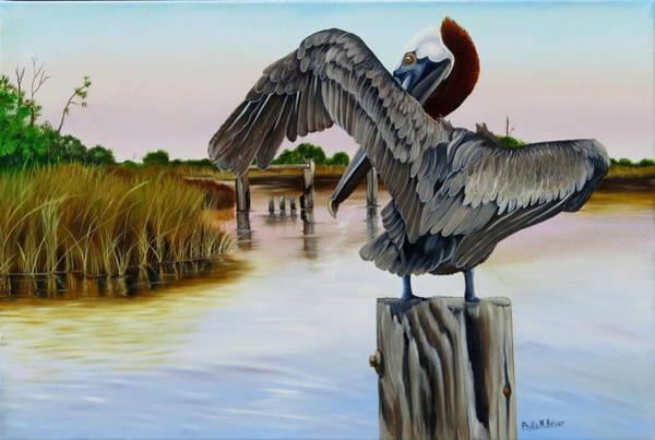 Wall Art - Painting - Gar Lake Pelican 2 by Phyllis Beiser