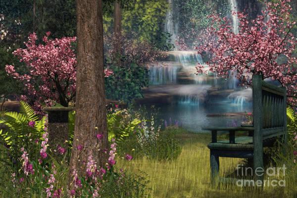 Park Bench Digital Art - Garden Background by Elle Arden Walby