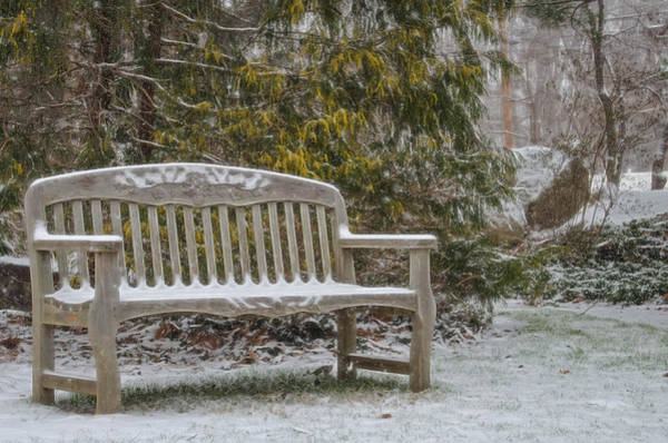 Photograph - Garden Bench During Winter Snowfall At Sayen Gardens by Beth Sawickie
