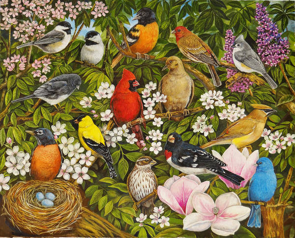 Titmouse Painting - Garden Birds by Sandy Williams