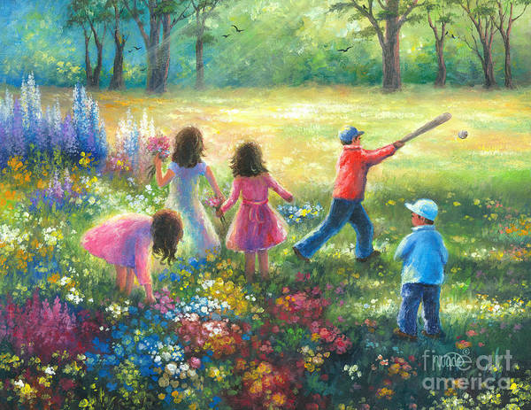Three Sisters Wall Art - Painting - Garden Children by Vickie Wade