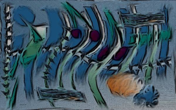 Digital Art - Garden City Abstract Blue by Barbara St Jean