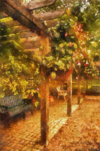 Park Bench Digital Art - Garden Flowers With Bench Photo Art 01 by Thomas Woolworth