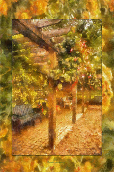 Park Bench Digital Art - Garden Flowers With Bench Photo Art 02 by Thomas Woolworth