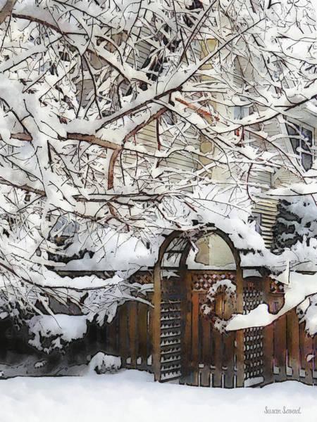 Photograph - Garden Gate In Winter by Susan Savad