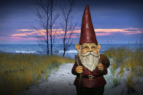 Photograph - Garden Gnome At The Beach At Sunset by Randall Nyhof