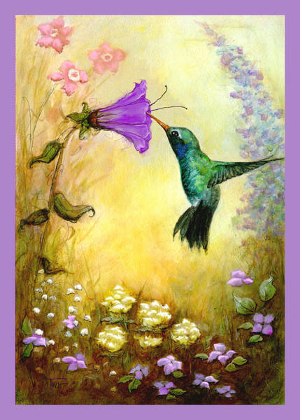 Nectar Mixed Media - Garden Guest In Lavender by Terry Webb Harshman