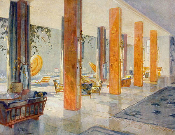Hotel Drawing - Garden Hall Of A Hotel, 1929 by M. Stier