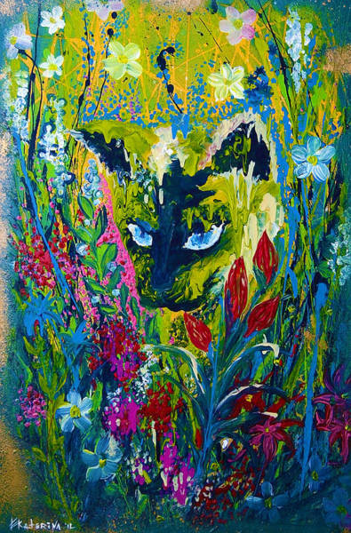 Painting - Garden Hunter Cat Painting by Ekaterina Chernova