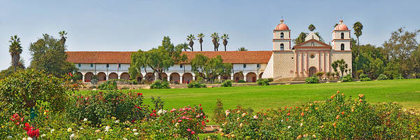 Mission Santa Barbara Photograph - Garden In Front Of A Mission, Mission by Panoramic Images