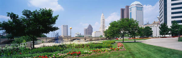 Scioto Photograph - Garden In Front Of Skyscrapers by Panoramic Images