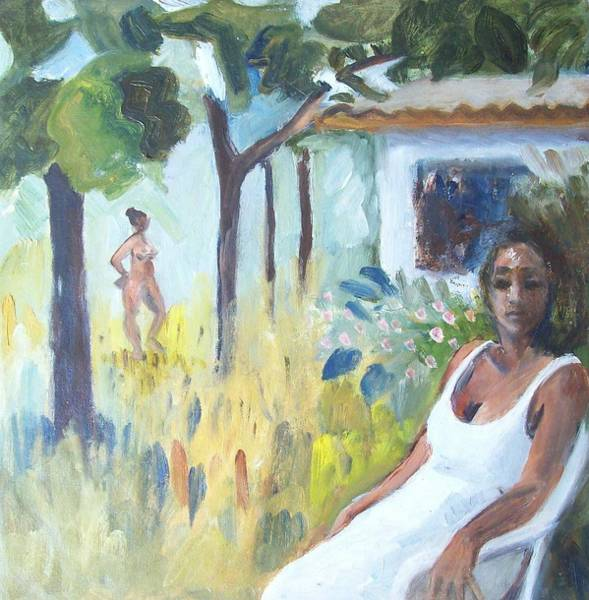 Ambiguous Painting - Garden In Lopinot 1 by Mary Adam