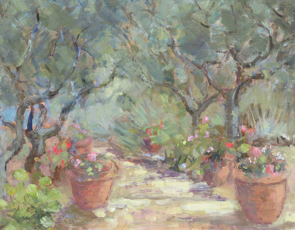 Containers Painting - Garden In Porto Ercole, Italy by Karen Armitage