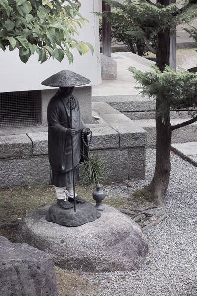 Kansai Wall Art - Photograph - Zen Temple Garden Monk - Kyoto Japan by Daniel Hagerman