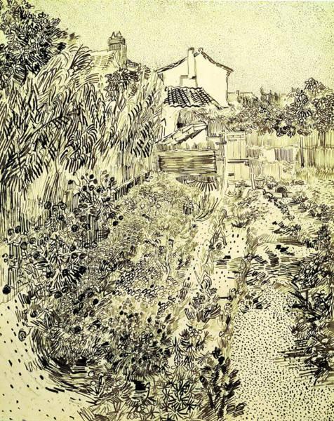 Garden Drawing - Garden Of Flowers by Vincent Van Gogh