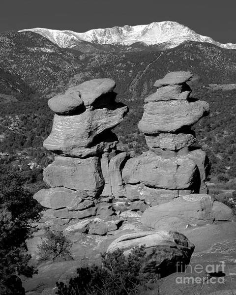 Wall Art - Photograph - Garden Of The Gods Siamese Twins Pike's Peak - Colorado Landscape Black And White Bw by Jon Holiday