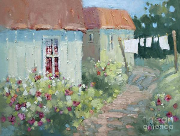 Clothesline Painting - Garden Path  by Joyce Hicks