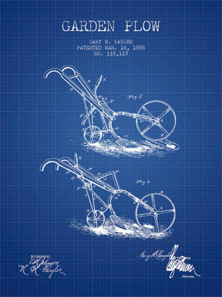 Agriculture Digital Art - Garden Plow Patent From 1886 - Blueprint by Aged Pixel