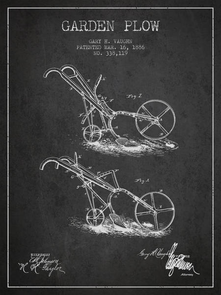 Agriculture Digital Art - Garden Plow Patent From 1886 - Dark by Aged Pixel