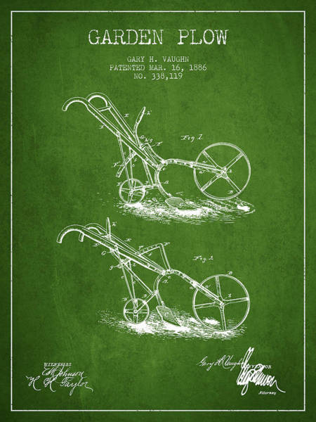 Agriculture Digital Art - Garden Plow Patent From 1886 - Green by Aged Pixel