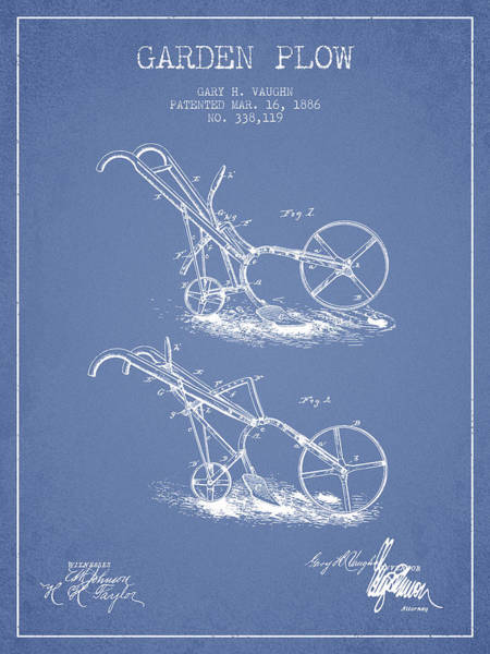 Agriculture Digital Art - Garden Plow Patent From 1886 - Light Blue by Aged Pixel