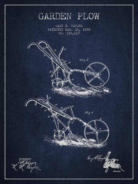 Agriculture Digital Art - Garden Plow Patent From 1886 - Navy Blue by Aged Pixel