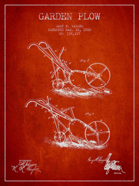 Agriculture Digital Art - Garden Plow Patent From 1886 - Red by Aged Pixel