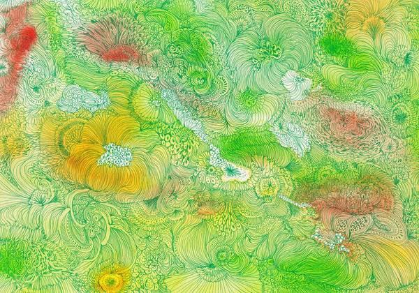 Organic Garden Drawing - Garden - #ss14dw087 by Satomi Sugimoto